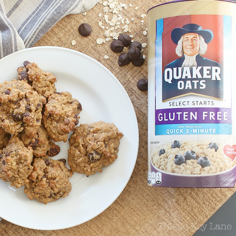 Gluten free peanut butter chocolate chip oatmeal cookies.