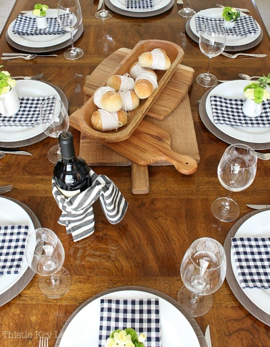 Barbecue table scape has rustic texture.
