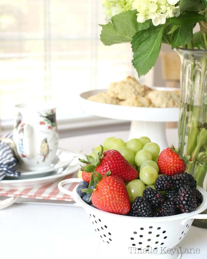 Fresh fruits and nibbles.