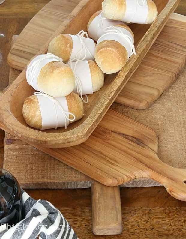 Rustic bread board used in the centerpiece.