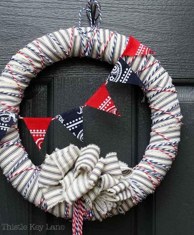 Decorate a door with patriotic colors