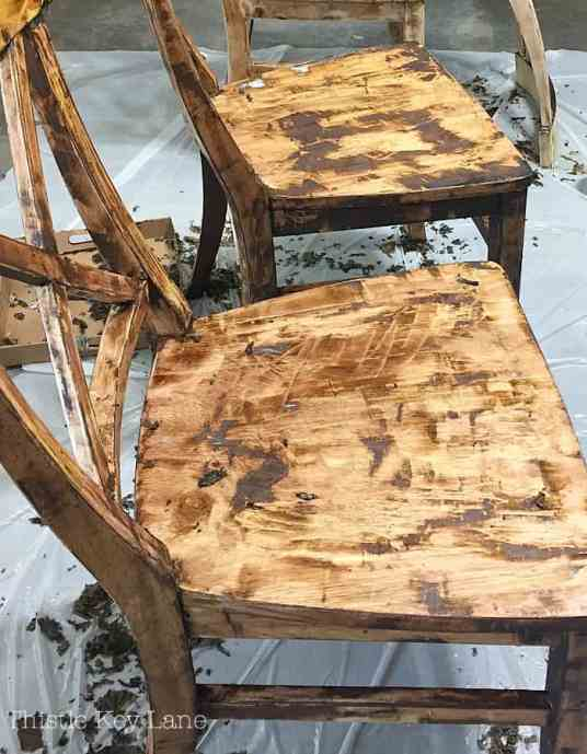 Ugly chairs during the stripping process.