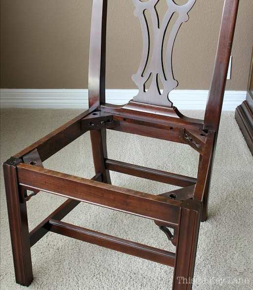 Chair with seat cushion removed.