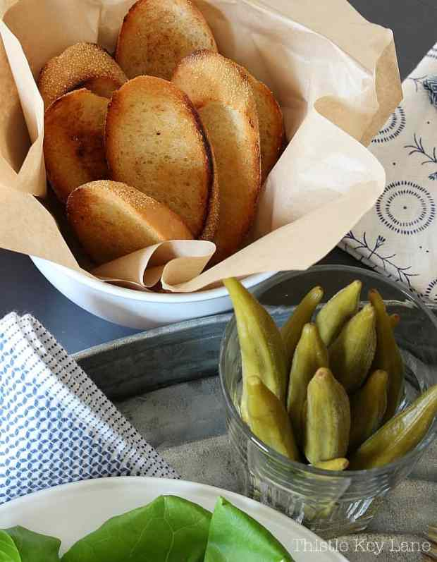 Serve pimento cheese with toast and pickled okra!