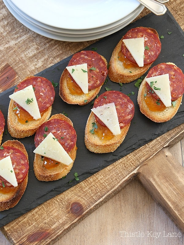 Crostini with a mixture of fabulous flavors. #easyrecipes #appetizerrecipes