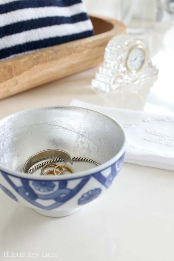 Add an elegant touch by adding silver leaf to a bowl.