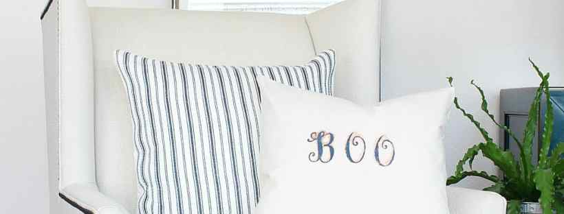 """So simple to make a """"Boo"""" stenciled pillow cover."""
