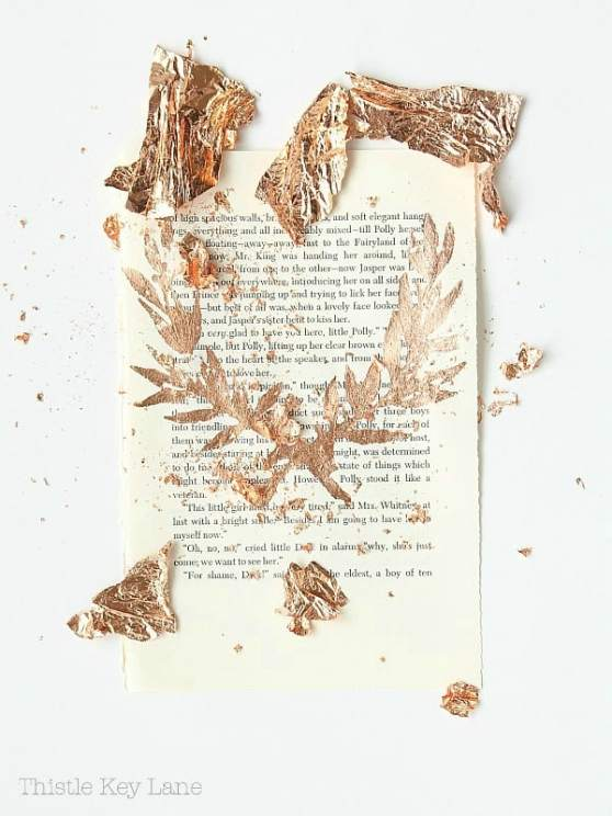 Book page with copper leaf detail.