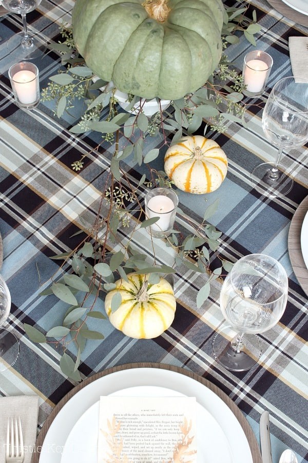 Pumpkins and plaid tablescape.
