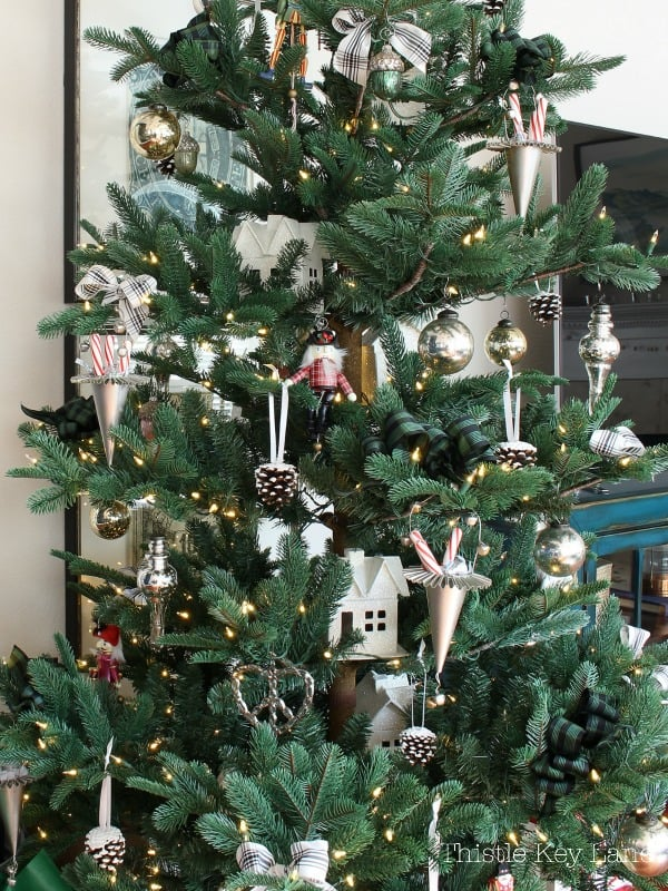 Silver, gold and glitter tree ornaments.