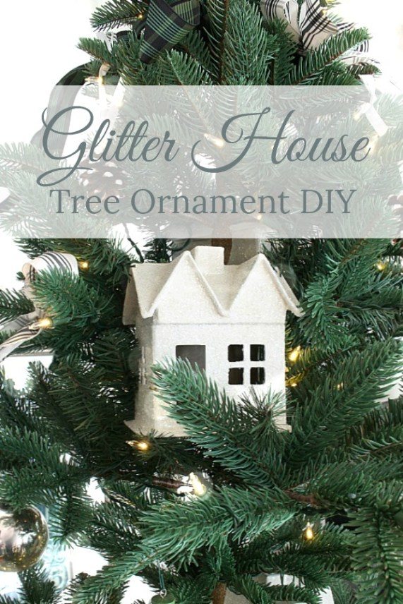 Glitter house Christmas tree ornament.