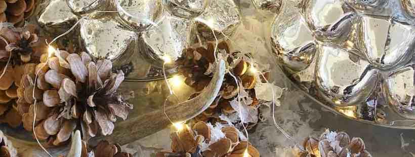 Fairy lights, mercury glass and pinecones.