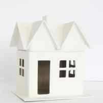 Paper mache house painted white.