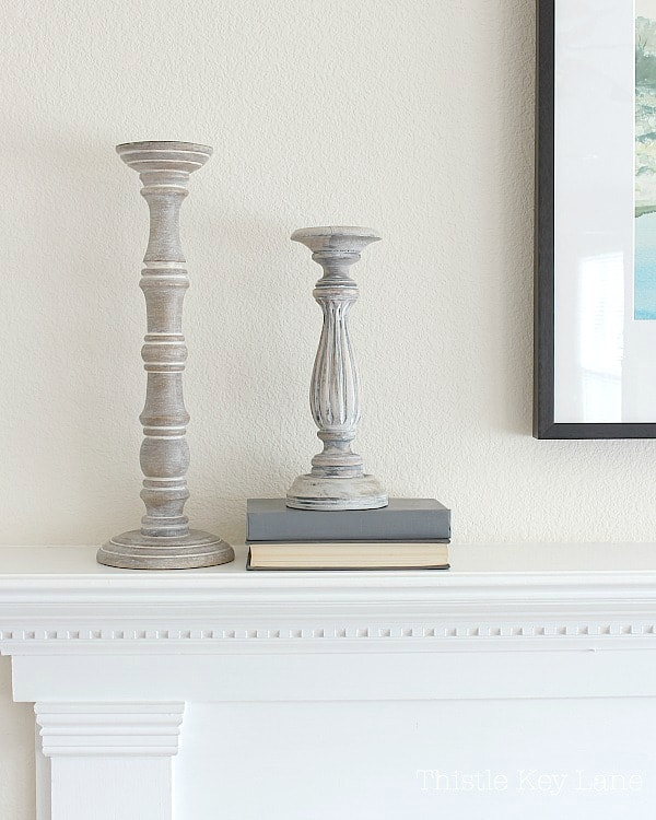 Candlestick on the mantel.