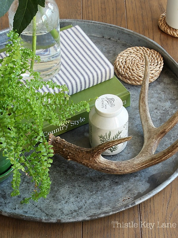 Large round metal tray with green and white accessories.