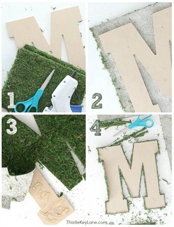Steps 1-4 letter M, sheet moss, scissors, glue gun.