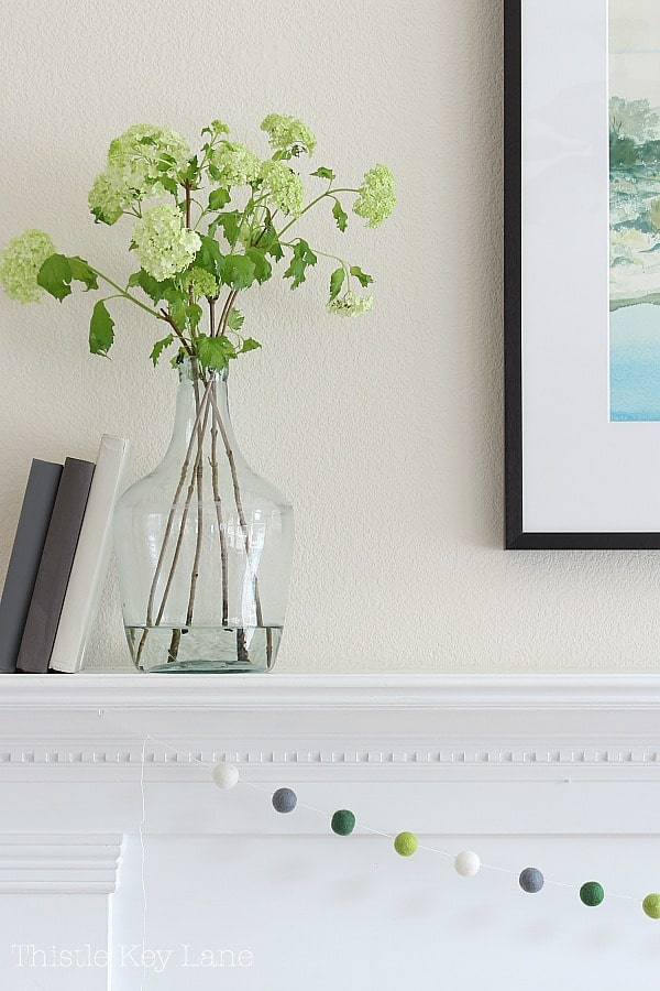 Glass bottle with green flowers, white shelf and green pompom garland.