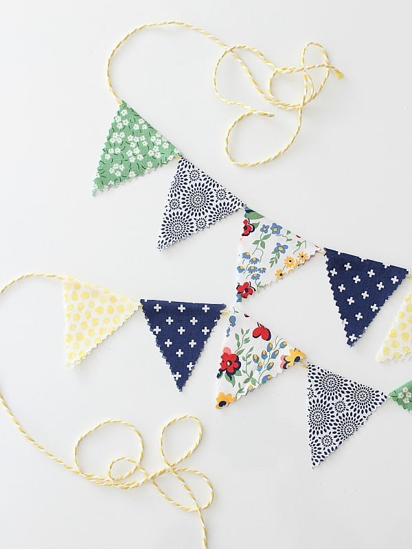 Mini bunting with spring colors and patterns.
