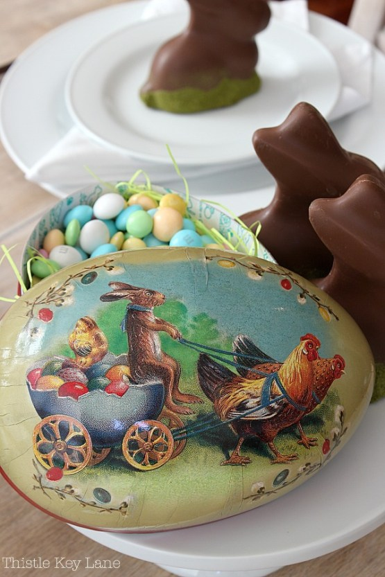 Vintage egg with candies and chocolate bunnies.