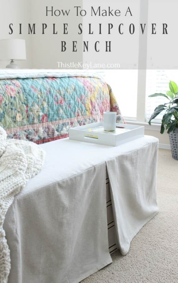 Detailed tutorial in how to make a bench slipcover.