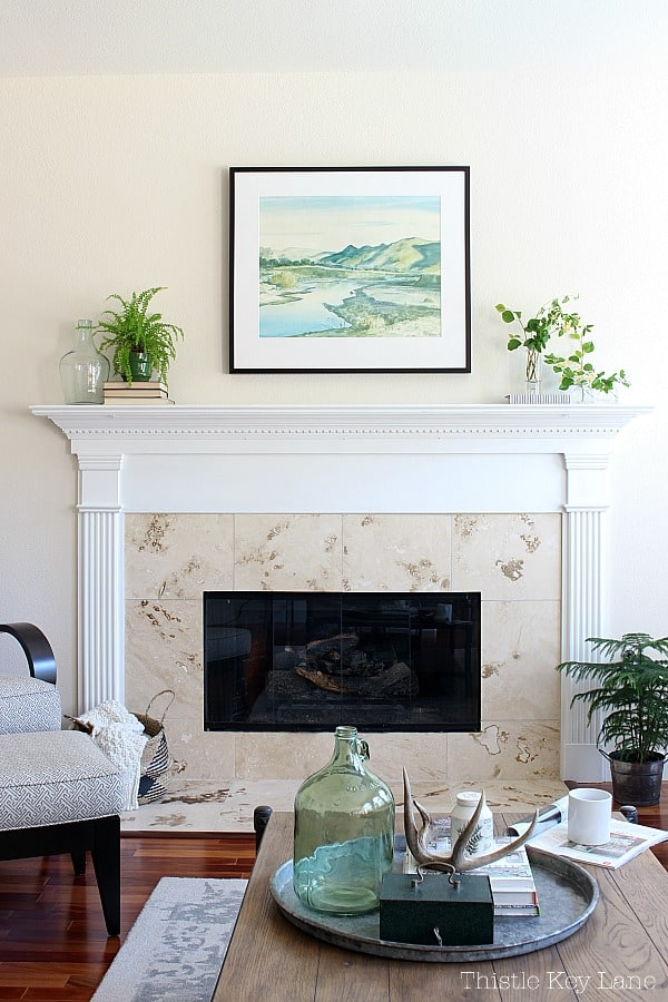 Greenery on the mantel for spring to summer.