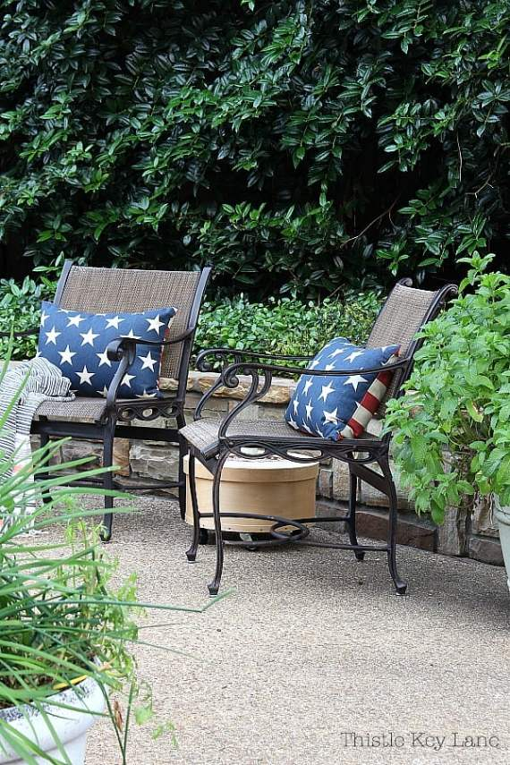 Summer ready patio and garden tour with a relaxing sitting area.