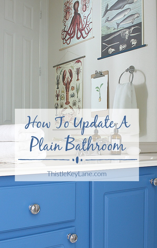 Get ideas on updating a plain bathroom by painting cabinets.