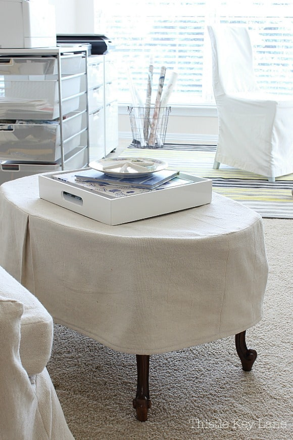DIY slipcover coffee table with pleats.