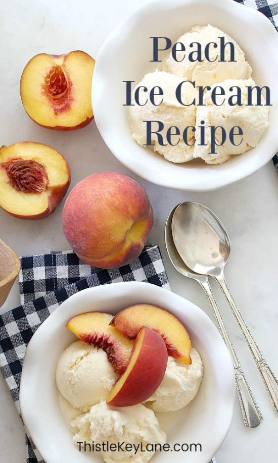 Peach Ice Cream Recipe served with sliced peaches.