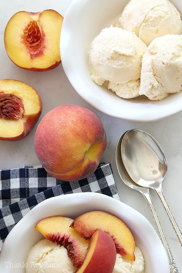 Peach Ice Cream Recipe plain or with peaches on top.