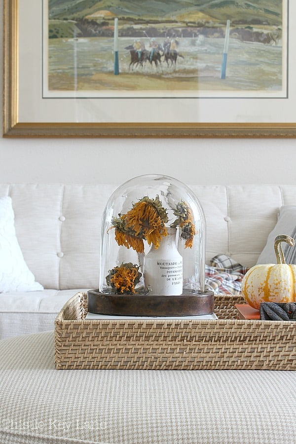 Simple Fall Home Decor Ideas - wicker tray with books, a cloche with flowers and a pumpkin.