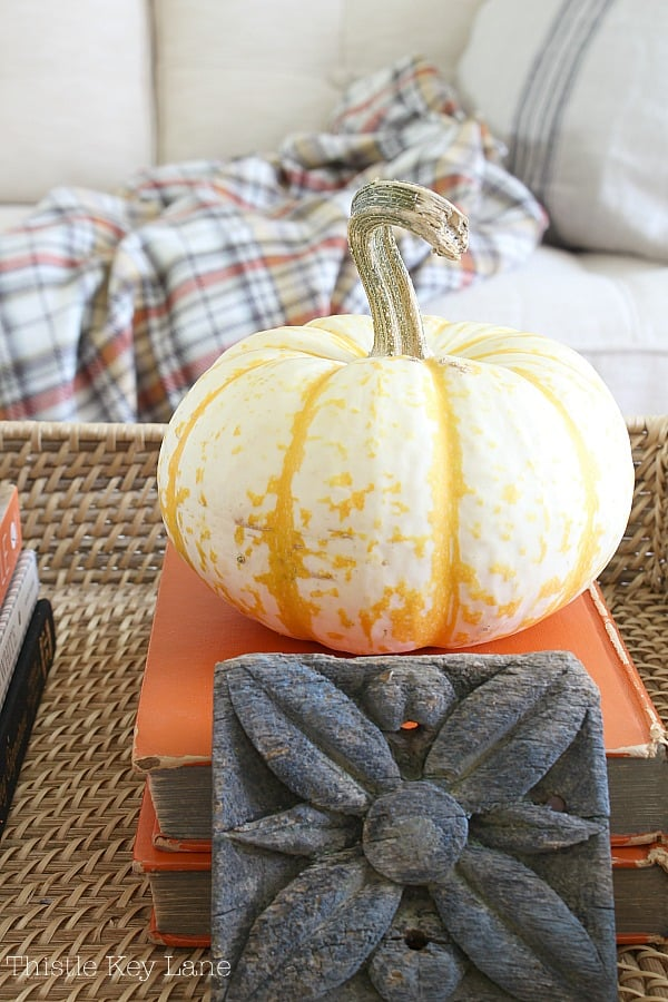 Yellow and white pumpkin on stack of books with vintage wood moulding.