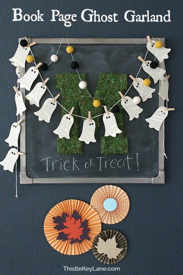 DIY Book Page Ghost Garland on a chalkboard.