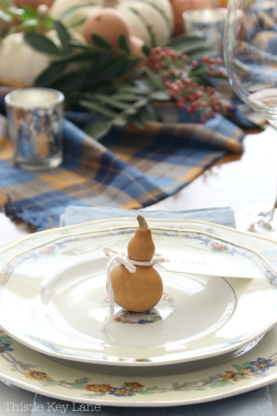 Easy Thanksgiving Tablescape Using Gourds And Plaid