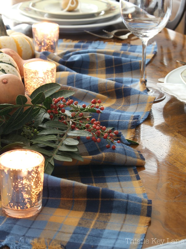 Easy Thanksgiving Tablescape Using Gourds And Plaid fabric.
