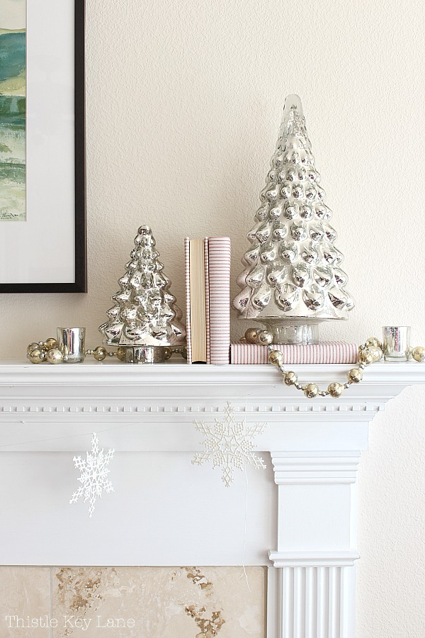 Christmas Mantel With Mercury Glass & Ticking