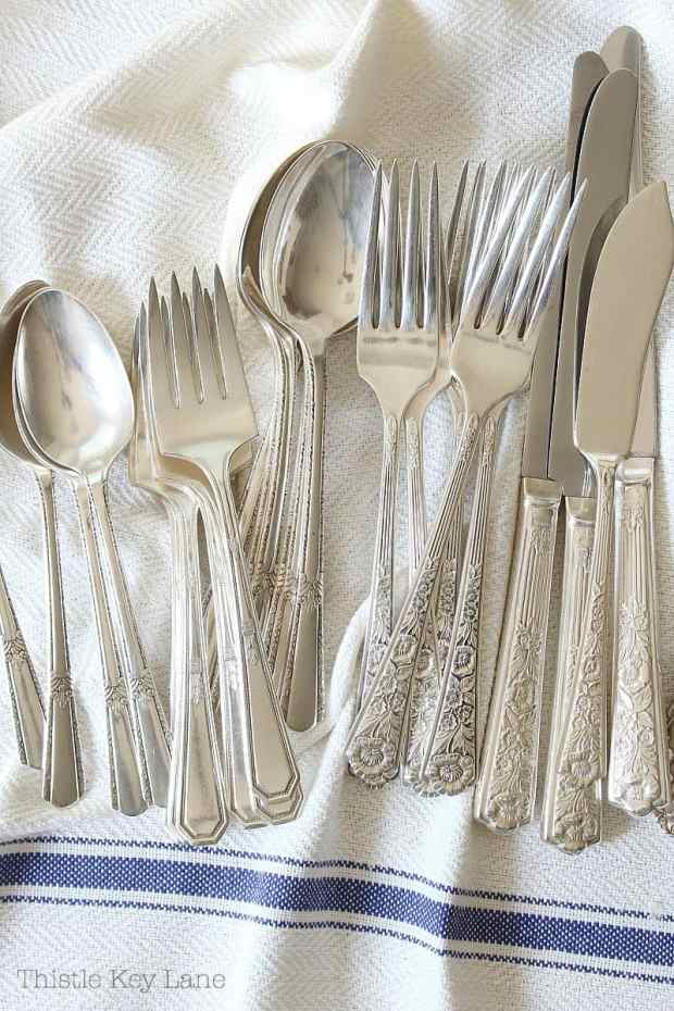 Silverware on a white background.