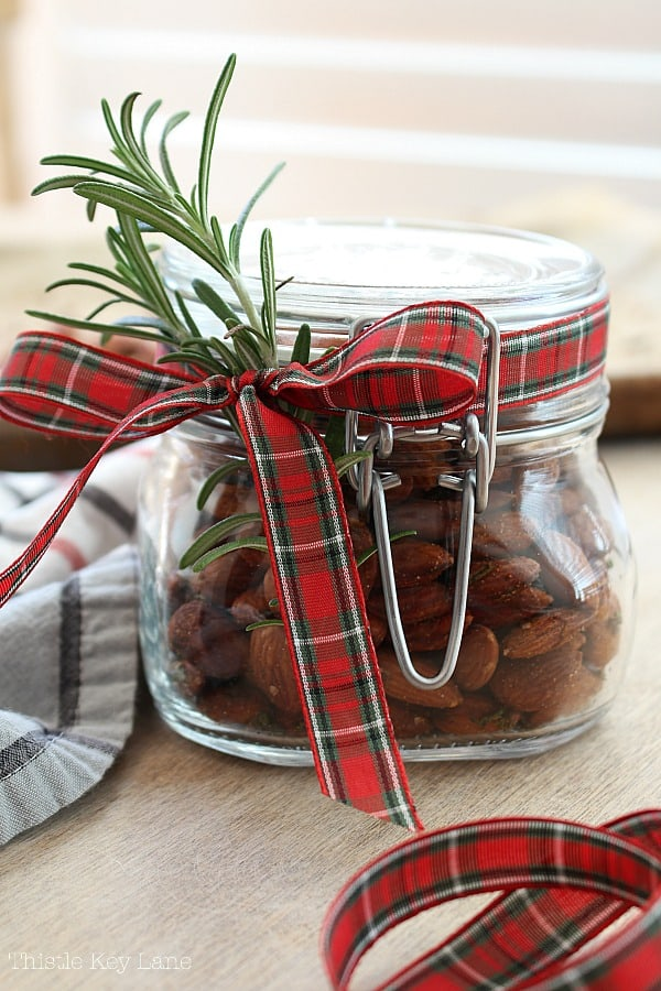 Jar of almonds for a hostess gift.