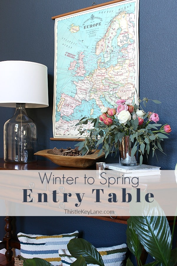 Create A Winter To Spring Entry Table With Flowers and Dough Bowl Arrangement
