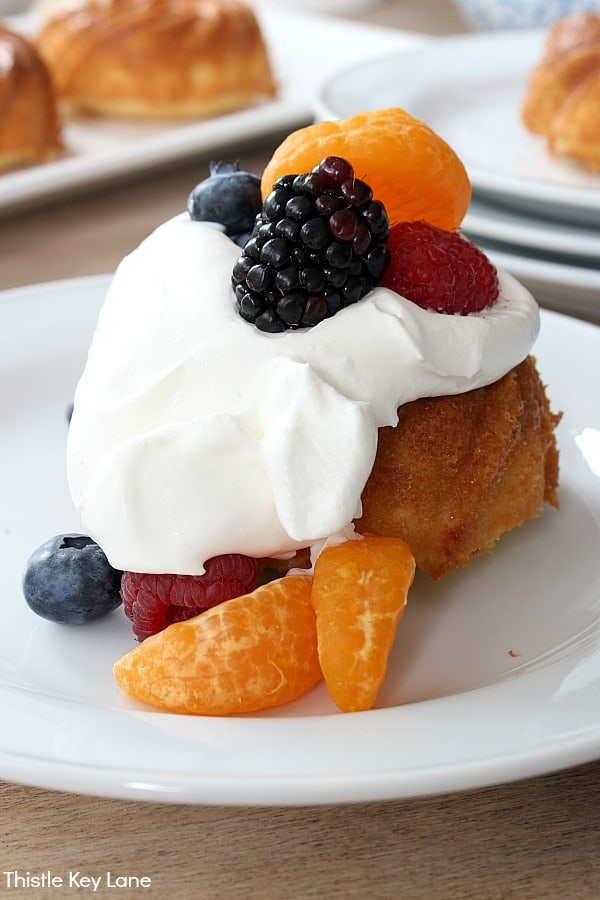 Mini Pound Cake Recipe - With whipped cream and fresh fruit.