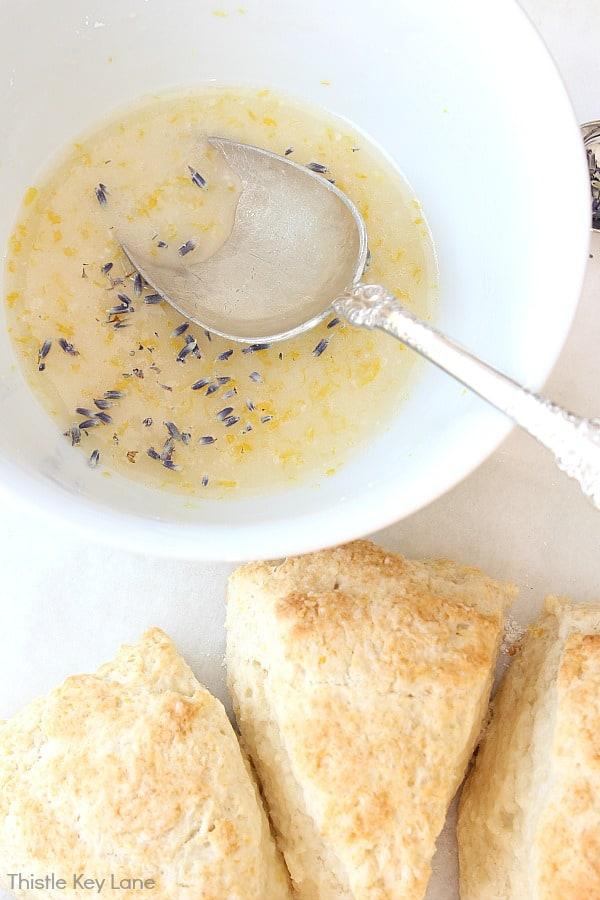 Lavender and Honey Scone Recipe with lavender honey glaze.