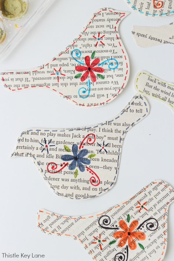 Book Page Bird Garland - painted with flowers.