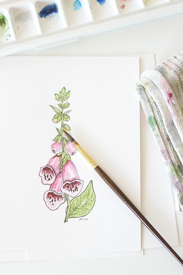 Simple Botanical Watercolor - Foxglove