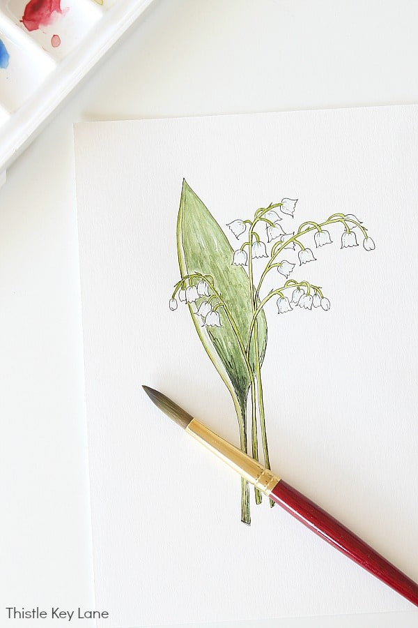 Simple Botanical Watercolor - Lily Of The Valley