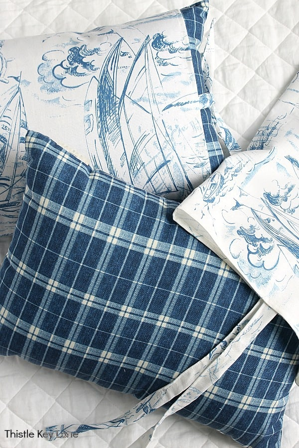 Ideas for making easy pillow covers with ties - blue plaid and white nautical toile patterns.