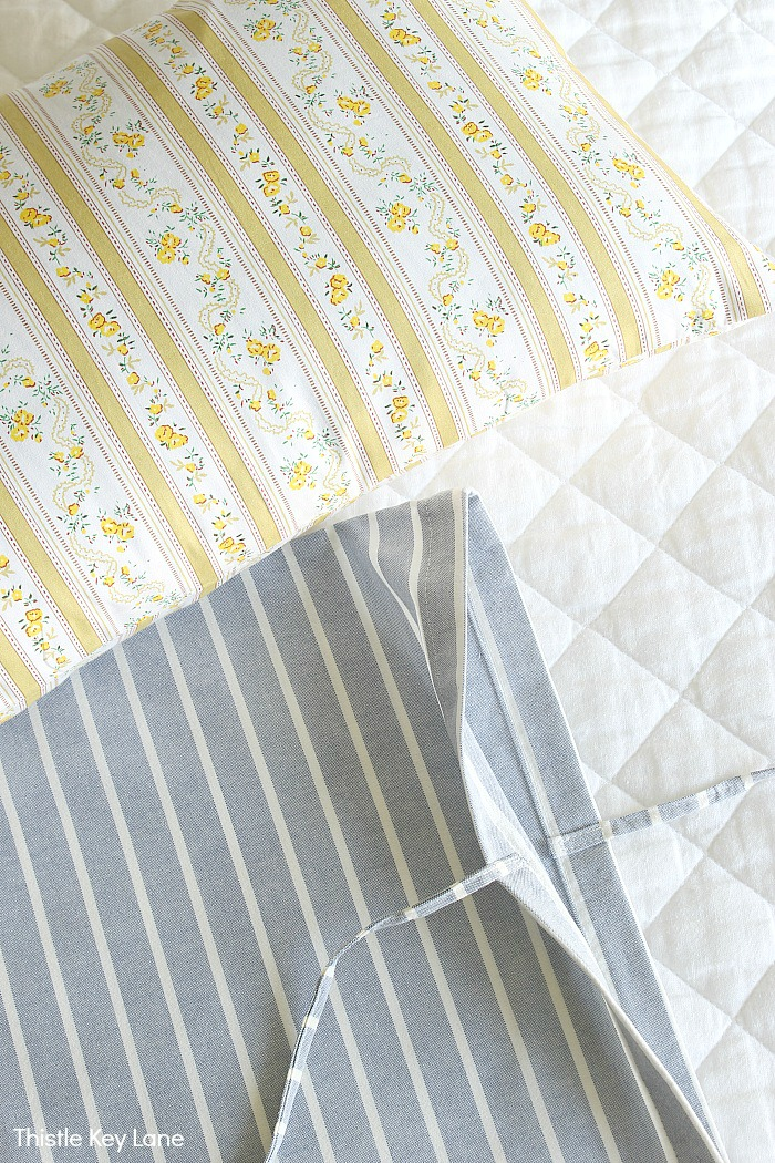 French ticking pillow covers.