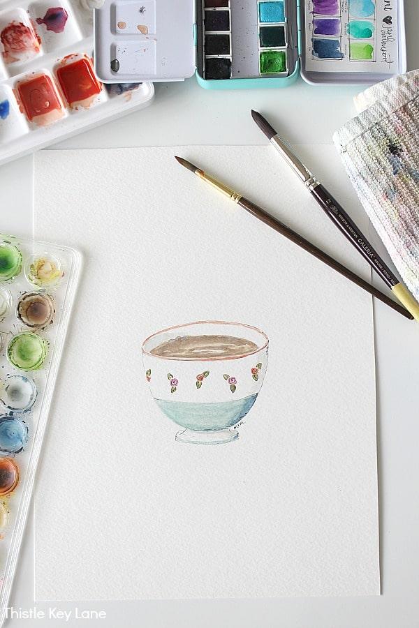 Watercolor cafe au lait bowl.