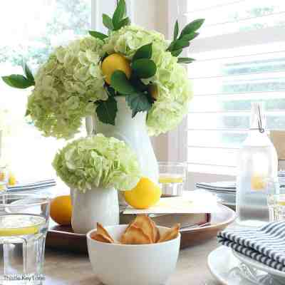 Summer Lemon Tablescape And A Free Printable