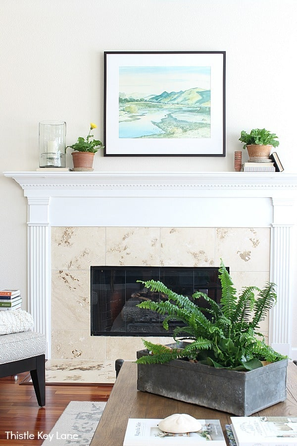 Plants on the mantel in terra cotta pots Simple Summer Home Decorating Tour .