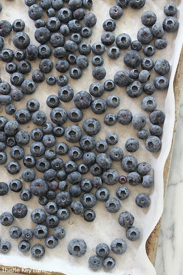Frozen blueberries on parchment paper - Blueberry Lemon Sorbet Recipe.